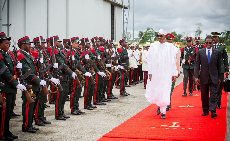 Buhari to Malabo e1458058829509 - Photo: Nigeria Buhari receives highest honour in Equatorial Guinea