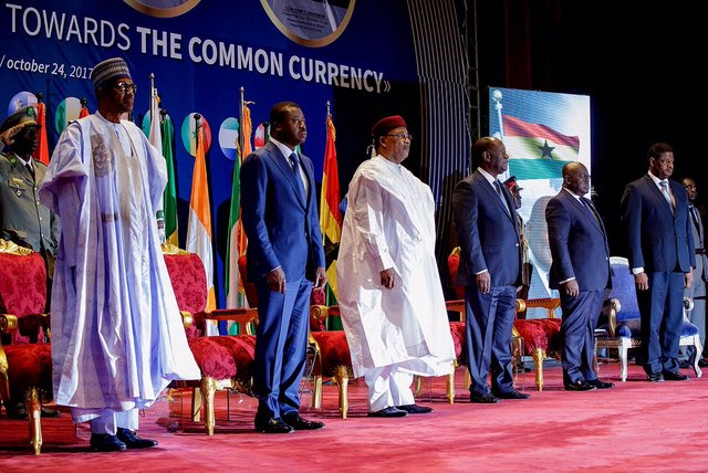 L-R: President Muhammadu Buhari, President of Togo, Faure Gnassingbe;President of Niger, Mahamadou Issoufou; Ivory Coast President, Alassane Ouattara; and President of Ghana, Nana Akufo Ado, at the Economic Community of West African States summit on the creation of ECOWAS single currency in Niamey, Niger Republic... on Tuesday. Photo: State House