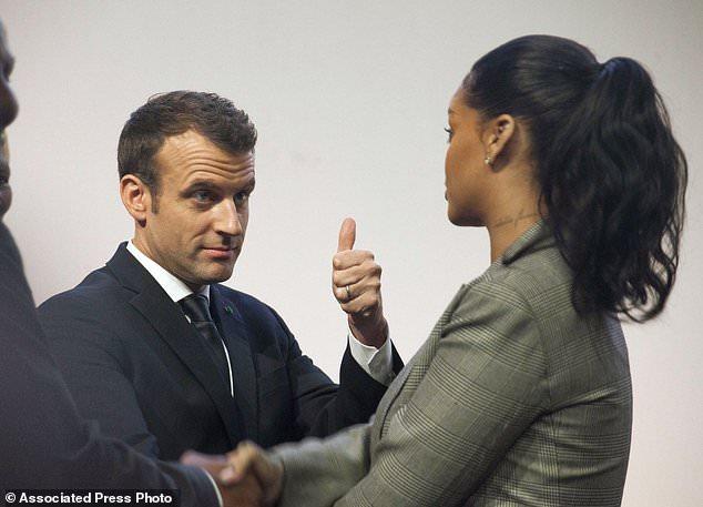 rihanna and macroon - Rihanna, Macron champion millions for global education