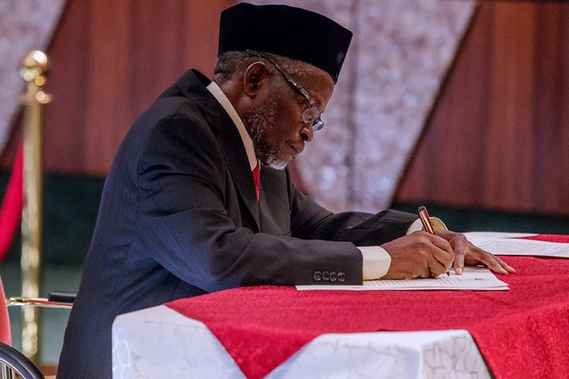 Buhari This Afternoon Swore In Justice Ibrahim Tanko Mohammed As Acting Chief Justice Of Nigeria