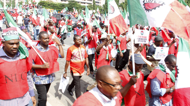 Nlc Protest, Labour leaders during the rally to create awareness on the new Minimum Wage for workers organised by the Nigeria Labour Congress