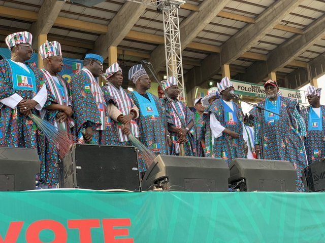 National Leader Of Our Great Party, Asiwaju Bola Tinubu Is Now Speaking At The Tbs, For #pmbinlagos #pmb4plus4